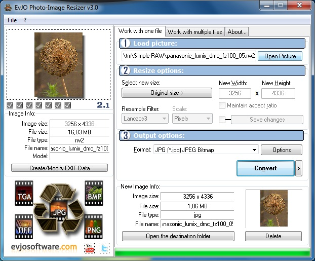 Resize digital pictures and apply special effects easily and automatically