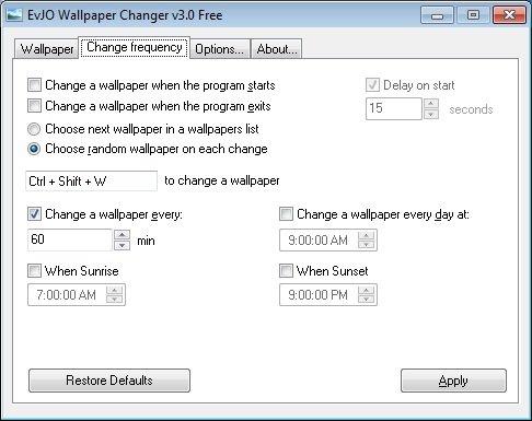 Evjo Software Evjo Wallpaper Changer
